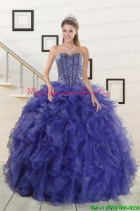 2015 Pretty Sweetheart Purple Quinceanera Dresses with Beading and Ruffles
