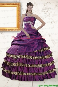 Classical One Shoulder Quinceanera Dresses with Beading and Leopard
