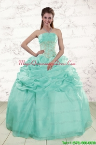 2015 Pretty Puffy Apple Green Sweet 16 Dresses with Beading