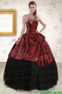 Pretty Ball Gown Embroidery 2015 Quinceanera Dresses in Rust Red and Black