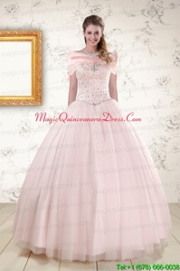 2015 Beading Ball Gown Quinceanera Dresses in Light Pink
