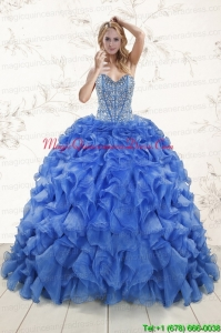Hot Sale Beaded Royal Blue Sweet 15 Dresses with Sweep Train