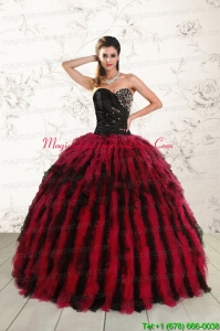 Luxurious Sweetheart Ruffles and Beaded Quinceanera Dresses in Red and Black