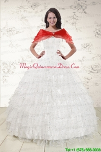 White Ball Gown Formal Quinceanera Dresses with Sequins and Ruffles