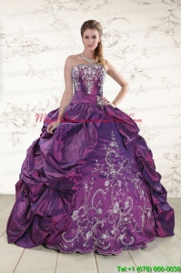 2015 Strapless Embroidery Quinceanera Dresses in Purple