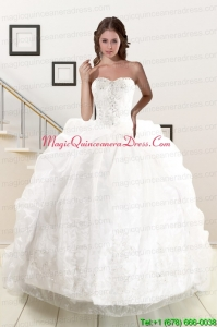 Exquisite Appliques White Brush Train Quinceanera Dresses with Appliques and Pick Ups