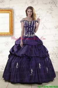 2015 Latest Off The Shoulder Appliques Quinceanera Dresses in Purple