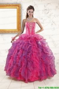2015 Multi Color Quinceanera Dresses with Appliques and Ruffles