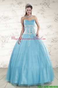 2015 Pretty Aqua Blue Quinceanera Dresses with Beading and Appliques