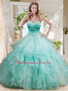 Elegant Floor Length Big Puffy Quinceanera Dress with Beading and Ruffles Layers