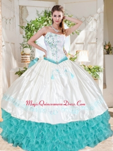 Exclusive Ruffled and Beaded Asymmetrical Quinceanera Dresses with White and Aque Blue