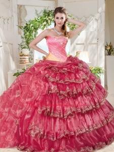 Gorgeous Beaded and Ruffled Big Puffy Sweet 16 Dress in Rainbow