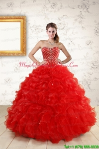 Sweetheart Beading Perfect Red Quinceanera Dresses for 2015