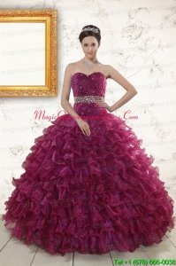 The Most Popular Beading and Ruffles Burgundy Quinceanera Gown