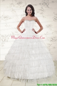 The Most Popular White Sequins Ball Gown Quinceanera Dresses for 2015