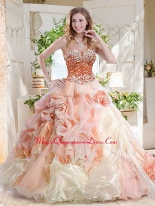 57237f6ec12 Fashionable Beaded and Bubble Quinceanera Dress in Peach and White