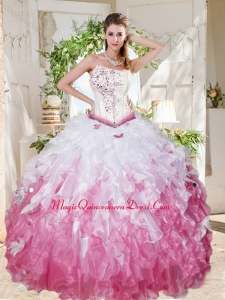 Wonderful Asymmetrical Big Puffy Sweet 16 Dress with Beading and Ruffles