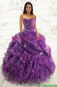 2015 Romantic Purple Ball Gown Quinceanera Dress with Appliques and Ruffles