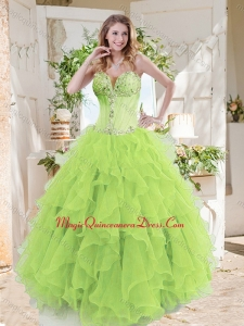 A-line Beaded and Ruffed Quinceanera Gown in Spring Green