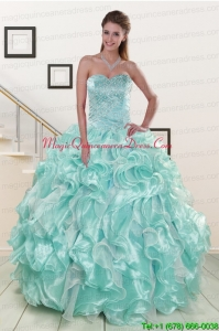 Beautiful Beading Sweet 16 Dresses in Apple Green for 2015