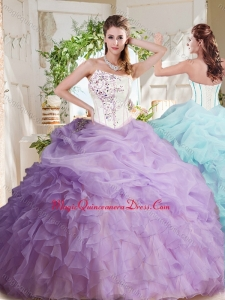 Fashionable Asymmetrical Visible Boning Beaded Sweet 16 Dress with Ruffles and Bubbles