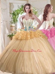 Gorgeous Beaded and Bubble Organza Sweet 16 Dress in Gold