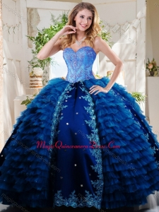 Luxurious Beaded and Applique Royal Blue Quinceanera Dress in Taffeta and Tulle