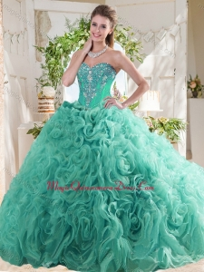 New Arrivals Rolling Flowers Mint Sweet 16 Dress with Beading