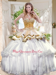 Pretty Big Puffy Sweet 16 Dress with Beading and Ruffles Layers
