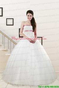 2015 Discount Strapless Appliques and Belt Quinceanera Dresses in White