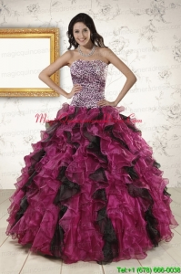 2015 New Style Sweetheart Ruffles Quinceanera Dresses in Multi Color