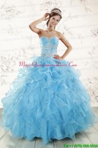 Aqua Blue Ball Gown Sweetheart Beading Sweet 16 Dresses