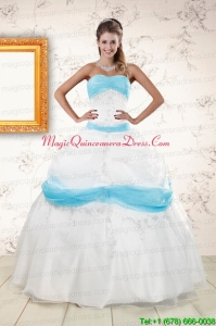 Elegant White and Baby Blue Ball Gown Quinceanera Dress for 2015