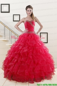 Pretty Sweetheart Ball Gown 2015 Sweet 16 Dresses in Coral Red