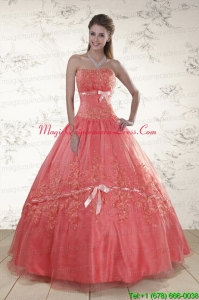 Watermelon Sweetheart Appliques Sweet 15 Dresses for 2015
