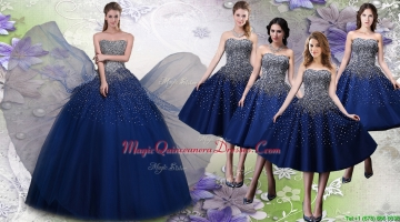 Most Popular Beaded Big Puffy Quinceanera Dress and Elegant Tea Length Navy Blue Dama Dresses