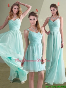 Cheap Straps Beaded and Ruched Aqua Blue Dama Dress in Chiffon