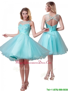 Classical See Through Bateau A Line Prom Dress with Beading