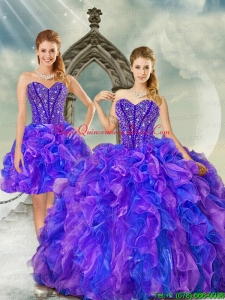 Luxurious and Detachable Beading and Ruffles Quince Dresses in Purple and Blue for 2015
