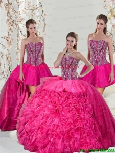 2015 Detachable Hot Pink Quinceanera Dress Skirts with Beading and Ruffles