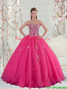2015 Detachable and Fashionable Sweetheart Hot Pink Sequins and Appliques Quinceanera Dresses