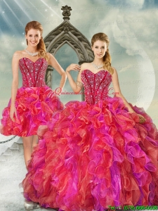 2015 Detachable and Hot Sale Beading and Ruffles Multi Color Quince Dresses