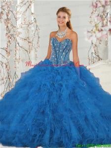 2015 Hot Sale Beading and Ruffles Aqua Blue Quince Dresses