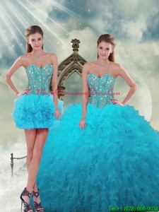 2015 Spring Detachable and Fashionable Beading and Ruffles Turquoise Dresses For Quince