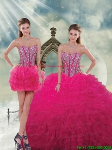 2015 Unique and Detachable Beading and Ruffles Quinceanera Dress Skirts in Hot Pink