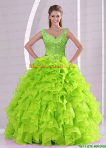 Custom Made Beading and Ruffles Quince Dresses in Green