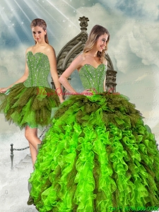 Detachable and Custom Made Beading and Ruffles Multi Color Dresses for Quince