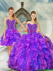 Detachable and Custom Made Blue and Lavender Dresses for Quince with Beading and Ruffles