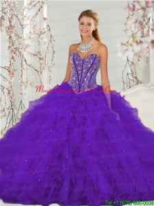 Detachable and Custom Made Purple Sweet 16 Dresses with Beading and Ruffles