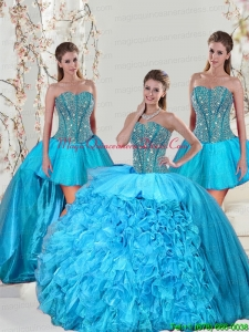Detachable and Fashionable Aqua Blue Sweet 15 Dresses with Beading and Ruffles for 2015
